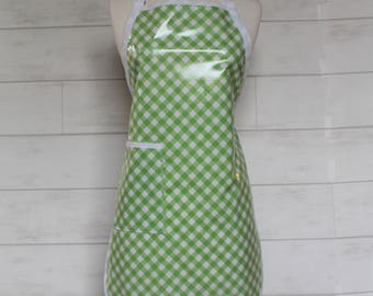 Womens Waterproof Apron Gardening Apron Cooking Apron in Green and White Bias Gingham