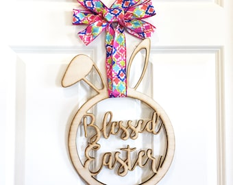Blessed Easter Bunny  Sign,  door sign, Holiday door sign, personalized door sign, home decor, wood wall art hanging