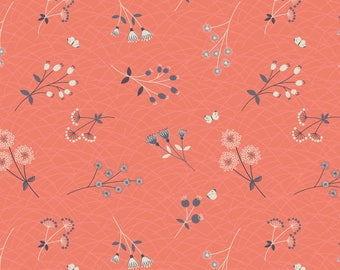 Hedgerow Flowers On Peachy Coral  A252.1 - THE HEDGEROW - Lewis and Irene - By the Yard