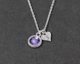 December Birthstone Necklace, Custom Mothers Necklace Initial Mothers Jewelry, Sterling Silver Heart Tanzanite Necklace