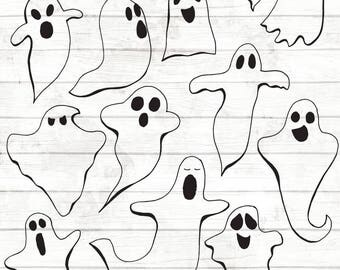 50% OFF Ghost Clipart - Hand Drawn Halloween Clip art - Ghost Vector Art - Halloween Party - Ghost Illustration - Halloween Party Clipart 97