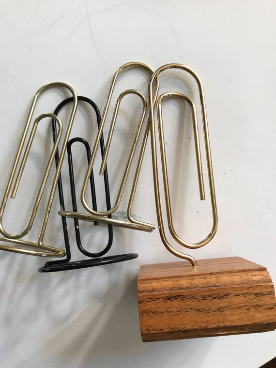 "8.5"" large vintage brass paperclip photo stand with wood base / office file storage"