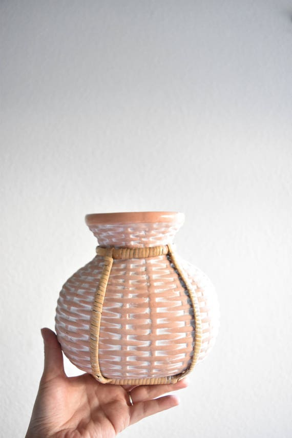 woven terra cotta clay flower vase / boho