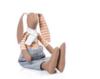 Brown doll , bunny doll , fabric Doll , stuffed rabbit , rabbit plush toy , toddler gift , ragdoll toy , soft doll , huggable toy , boy gift