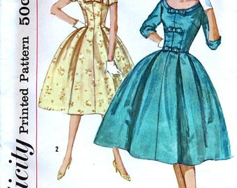 Simplicity 2763 Vintage 50s Sewing Pattern for Misses' One-Piece Dress - Uncut - Size 14 - Bust 34