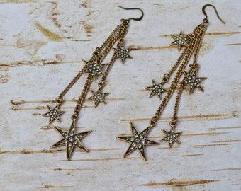 SALE- Antique Gold Rhinestone Star Tassel Earrings, Extra Long Earrings, Vintage Star Earrings, Tassel Dangle Jewelry