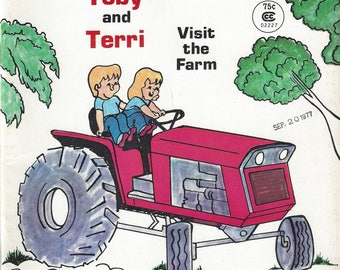 Vintage Teeny Weeny Adventures Toby and Terri Visit the Farm Coloring/Activity Book, 1977