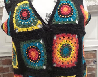 Vintage RAINBOW CROCHETED VEST, Hippie Rainbow Vest, Boho Rainbow Vest, Womens Rainbow Vest, Festival Clothing, Flower Child Rainbow Vest