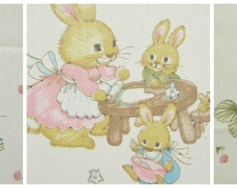 Vintage Fabric, Animals Fabric, Bunnies Fabric, School Scenes, Child's Room, Juvenile Fabric, Kids' Fabric, Cotton Blend, Cute Kawaii Zakka
