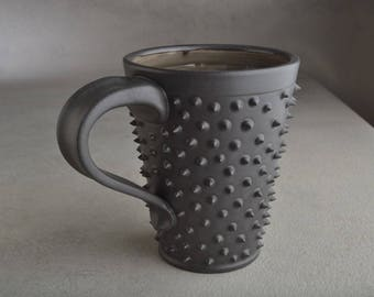 Spiky Coffee Mug Ready To Ship Black and Clear Black Dangerously Spiky Coffee Mug by Symmetrical Pottery cb1