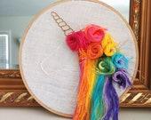 Unicorn embroidery hoop; Rainbow embroidery; Unicorn decor; Unicorn wall art; Embroidered unicorn; Customized unicorn art; 6 inch hoop