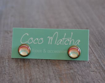 Clous d'oreilles - Arc-en-ciel - Rainbow studs - Bijou d'été - Coco Matcha