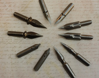 Pen Nibs Vintage 2 of each style Esterbrook, Presbitro, Hassag, Penna Signorina, Penna Corona d'Alloro Calligraphy Pens