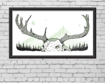 Deer with trees and mountains illustration screen print poster