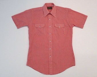 Red Gingham Western Shirt 1970s Mens 15 Vintage The Western Shop JC Penny Pearl Snap Red White Rockabilly Shirt Two Tone Short Sleeved