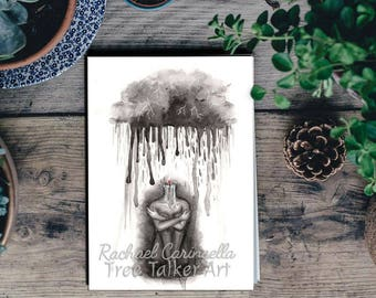 Depression Painting - Depression Art by  Rachael Caringella - Tree Talker Art - Mental Health Awareness