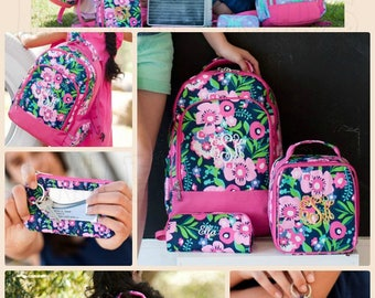Pretty Floral Posie Monogrammed Girls Backpack, Matching Lunchbox and Pencil case can also be purchased, Monogram Included