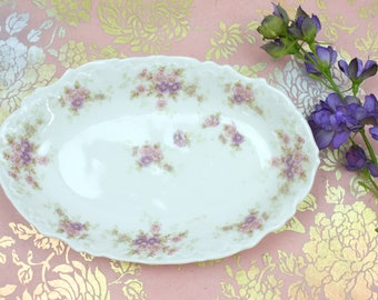 Floral Relish Dish - Antique Limoges, French Bawo & Dotter, Oval Relish Dish, Candy Dish, c.1890s