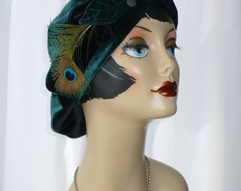 Oversize Repurposed Dark Green Velvet Beret