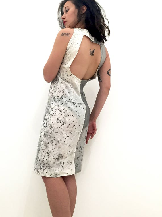 Naked back Hand Painted by A. Lugli LOLA DARLING Dress with Swarovski Wearable Art Work Signed Certified Exclusive Luxury Handmade in Italy