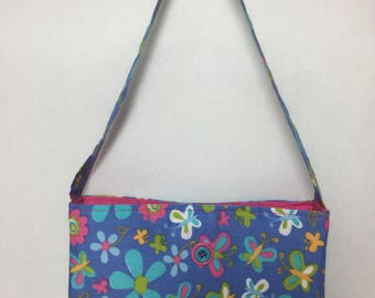 Little Girl's Butterfly & Flowers Fabric Purse (purple, turquoise, pink)