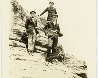 "Antique Photograph ""The Cliff Boys"" Photo Snapshot Americana Teenage Teen Kids Young Men Fashionable Style Mountain Side  Vernacular - 41"