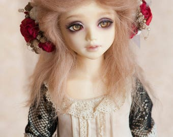 1/6 Size Short Light Brown Tibetan Mohair Wavy Wig (Size: 17cm) for Unoa Volks BJD YOSD Dolls