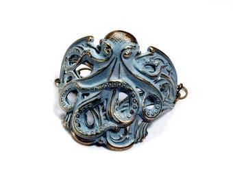 OCTOPUS Bracelet VERDIGRIS Cuff Bracelet OCTOPUS Jewelry Brass Cuff Aqua Jewelry Blue Green Turquoise Steampunk Jewelry VictorianCuriosities