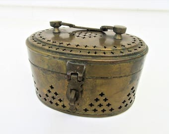 Vintage Large Brass Box | Cricket Cage | Metal Box with Lid | Stash Box | Metal Chest