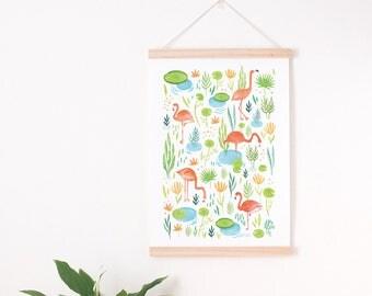 pink green nursery print, flamingo art print, flamingo nursery, Tropical nursery, tropical nursery print, pink green flamingo flamingo print