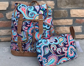 Multi Paisley Campus Drawstring Backpack including FREE cosmetic bag and FREE Monogram or name, Back to School, Girl Backpack