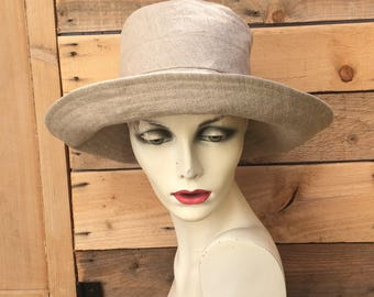 Natural linen sun hat, wide brimmed summer hat, reversible sun hat,linen hat, travel hat, linen sun hat,recycled fabric hat,wide brim hat,
