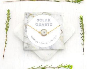 Solar Quartz Necklace, Celestial Jewelry, Healing Crystal Necklace, Gemstone Slice, Inspirational Gift, Natural Gemstone, Celestial Skies