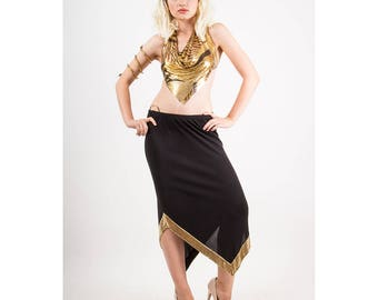 Vintage Ferrara chain mail / Whiting and Davis Gold metal mesh / 1980s Disco skirt with pointed hem S M