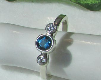 Blue Topaz Diamond Ring, 14k Solid Gold Band, London Blue Topaz, Genuine 2.5mm Diamonds, Sagittarius Ring, Promise Ring, Diamond Ring, Gift