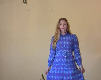 Vintage Long Sleeve Blue and Purple Chevron Button Up Dress with Belt Womens Size Small/Medium Petite