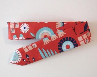 Mod Floral Skinny Tie in Red, Aqua, Pink // Cotton & Silk Necktie