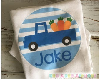 Boy Easter Truck Carrot Personalized Monogrammed T-Shirt or Bodysuit