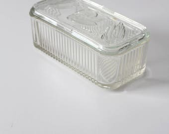 vintage refrigerator glass dish with lid, Depression glass kitchen storage