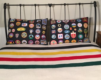 Vintage BOY SCOUTS of AMERICA Embroidered Badges Standard Pillow Cover Sham
