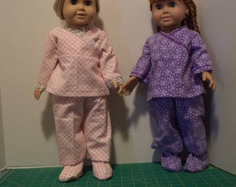 Pajamas for 18 inch Dolls, Lap Front, Cotton Flannel, Ready to Ship