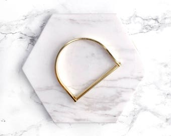 Gold Bangle, D Shaped Bangle with Hinge, Minimal Bangle, Modern Bangle, 18k Gold Plated Bracelet, Gifts for her, Stacking Bracelet, Boho