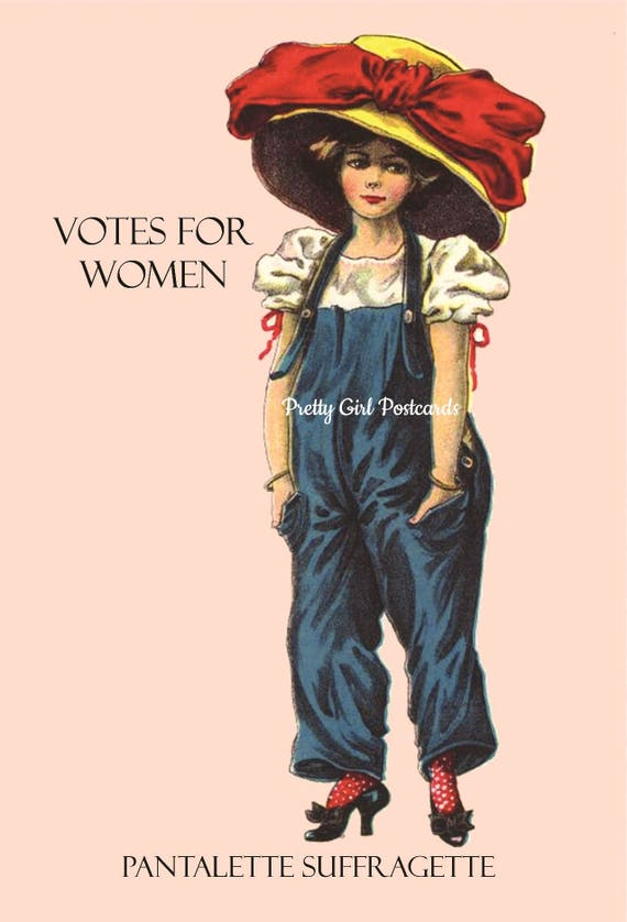 "Votes For Women ~ Pantalette Suffragette ~ International Women's Day (March 8th) Inspired 4"" x 6"" Glossy Postcards - Free Shipping in USA"