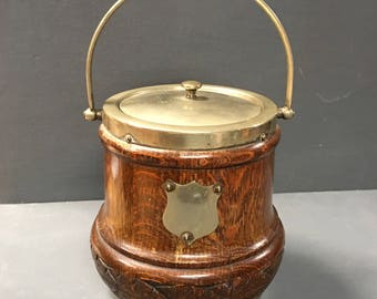 Victorian Oak Cookie Jar Biscuit Barrel Ice Bucket Vase EPNS Biscuit Jar