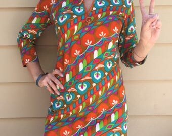 Groovy Vintage Womens Shift Dress