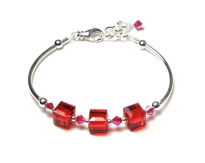 Light Siam Red Swarovski Crystal Cube Silver Beaded Adjustable Bracelet With Gorgeous Shimmering AB2X Summer Jewelry Romantic Gift for Women