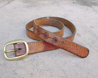 Vintage Womens Large Extra Large XL Colorful Leather Belt Boho Aztec Concho Belt Native Indian Classic Southwestern Thick Leather Belt