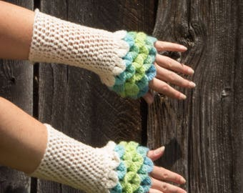 Dragon Scale Gloves Fingerless Crochet Cream, Blue, and Green Armwarmers, READY TO SHIP, Crocodile Stitch Gloves, Cuffs, Arm Warmers
