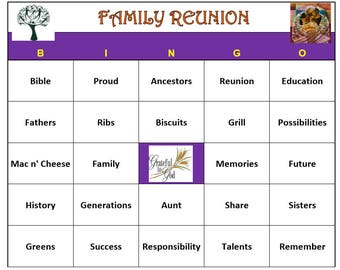 African American Family Reunion Bingo Game (30 Cards)  Reunion Family Themed Bingo Words -Very Fun! Print and Play!