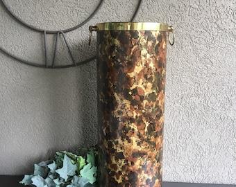 Vintage Brass Umbrella Holder Ernest Sohn Creations Metal w/ Brown Print - #J2105